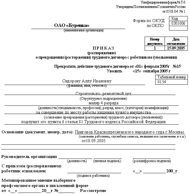проект приговора по уголовному делу образец
