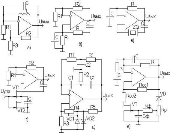 Автогенераторы на основе ОУ