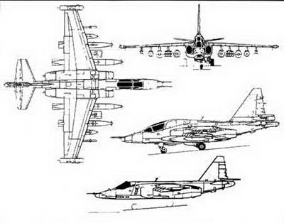 Схема штурмовика Су-25ТМ